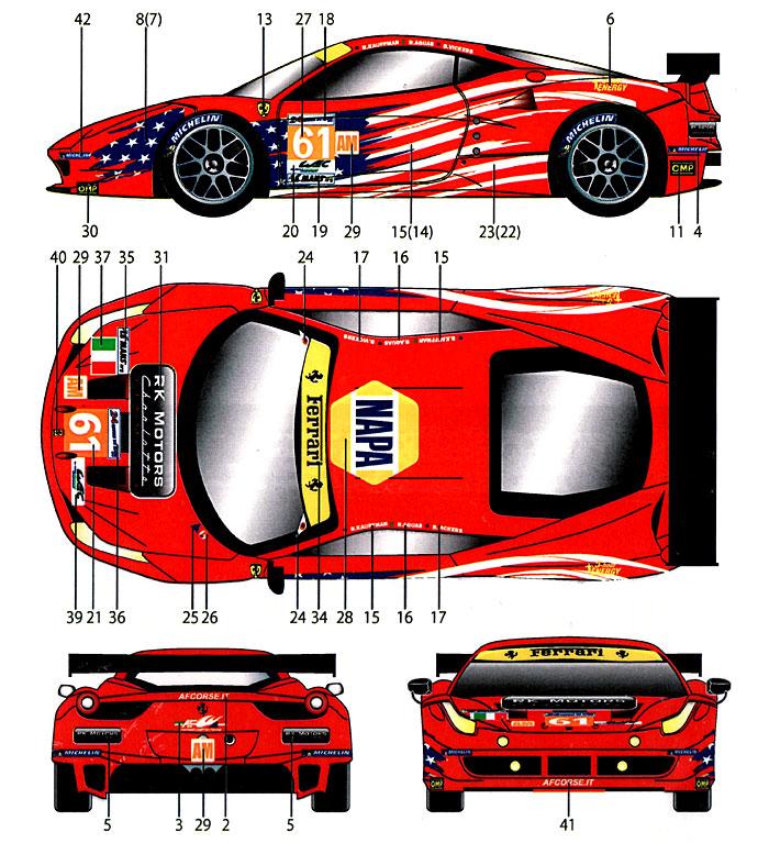 フェラーリ 458 #61 ル・マン 2012デカール(スタジオ27ツーリングカー/GTカー オリジナルデカールNo.DC952)商品画像_1