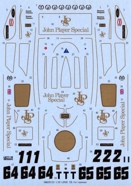 ロータス Type72E フルスポンサーデカールデカール(タブデザイン1/20 デカールNo.TABU-20123)商品画像