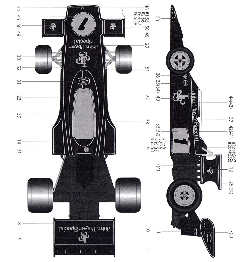 ロータス Type72E フルスポンサーデカールデカール(タブデザイン1/20 デカールNo.TABU-20123)商品画像_2