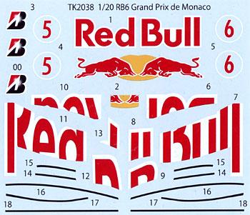 レッドブル RB6 モナコGP スペアデカールデカール(スタジオ27F-1 オリジナルデカールNo.SDT2038)商品画像