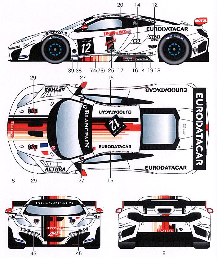 マクラーレン MP4-12C ART Grand Prix #12 ブランパン 2012デカール(スタジオ27ツーリングカー/GTカー オリジナルデカールNo.DC965)商品画像_2