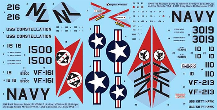 F-4B ファントム 2 用 デカールセット 3 (VF-161&VF-213)デカール(KA Modelsデカール (KG)No.KG-20007)商品画像_1