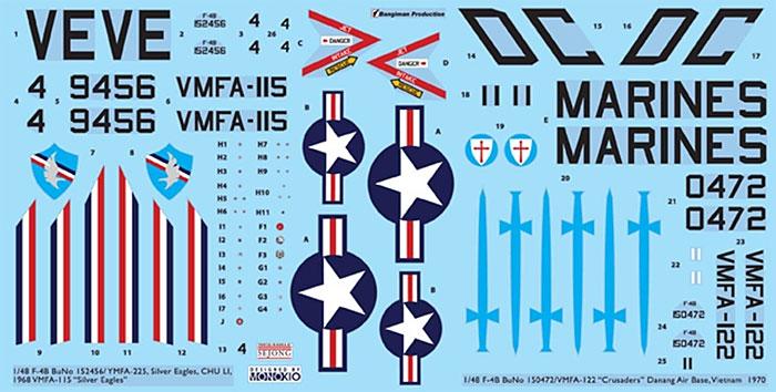 F-4B ファントム 2 用 デカールセット 4 (VMFA-115&VMFA-122)デカール(KA Modelsデカール (KG)No.KG-20008)商品画像_1