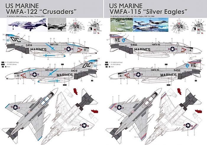 F-4B ファントム 2 用 デカールセット 4 (VMFA-115&VMFA-122)デカール(KA Modelsデカール (KG)No.KG-20008)商品画像_2