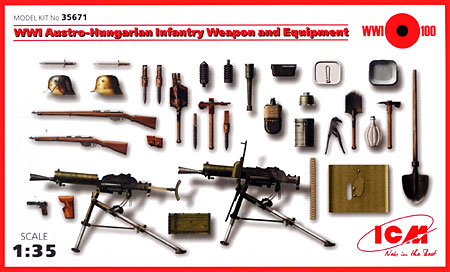 WW1 オーストリア・ハンガリー軍 小火器 & 装備品プラモデル(ICM1/35 ミリタリービークル・フィギュアNo.35671)商品画像