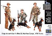 マスターボックス1/35 ミリタリーミニチュアアメリカ海兵隊 3体 & ドーベルマン犬 3体 太平洋戦争
