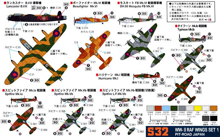 WW2 イギリス空軍機セット 1プラモデル(ピットロードスカイウェーブ S シリーズNo.S-032)商品画像_1