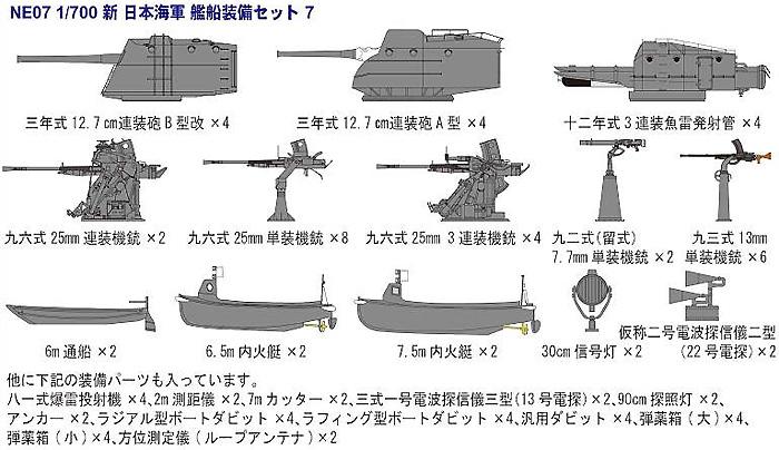 新WW2 日本海軍艦船装備セット (7)プラモデル(ピットロードスカイウェーブ NE シリーズNo.NE007)商品画像_1