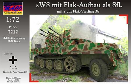 ドイツ sWS 重ハーフトラック Flak38型 4連装対空自走砲 装甲タイププラモデル(マコ1/72 AFVキットNo.7212)商品画像