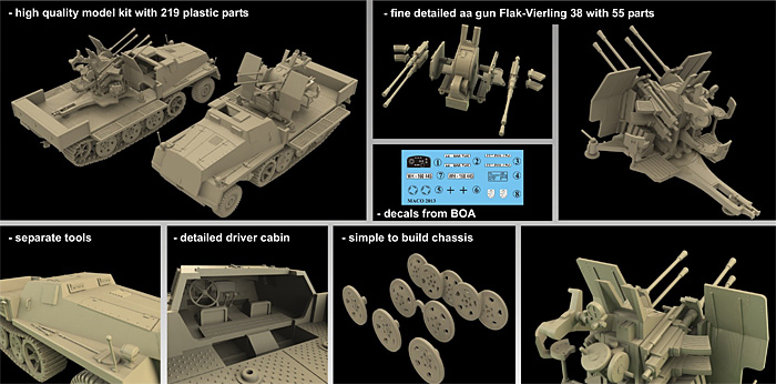 ドイツ sWS 重ハーフトラック Flak38型 4連装対空自走砲 装甲タイププラモデル(マコ1/72 AFVキットNo.7212)商品画像_1