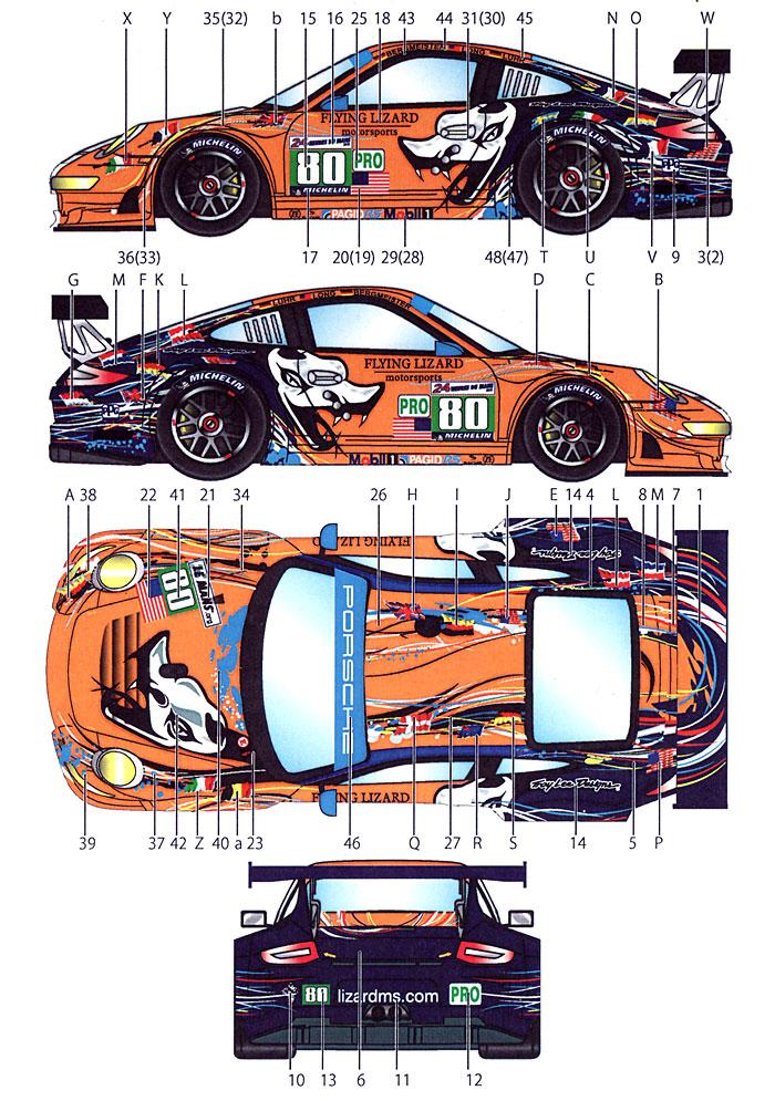 ポルシェ 911RSR フライング リザード #80 2011デカール(スタジオ27ツーリングカー/GTカー オリジナルデカールNo.DC901)商品画像_1