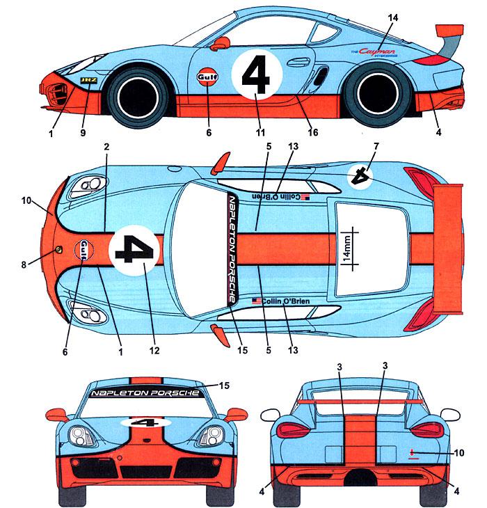 ポルシェ ケイマン Gulf #4デカール(スタジオ27ツーリングカー/GTカー オリジナルデカールNo.DC989)商品画像_1