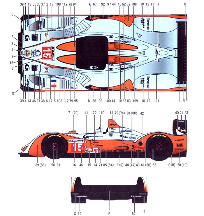 ぺスカローロ ジャッド Gulf #15/24 LMP1 ル・マン 2011年デカール(スタジオ27ツーリングカー/GTカー オリジナルデカールNo.DC995)商品画像_1