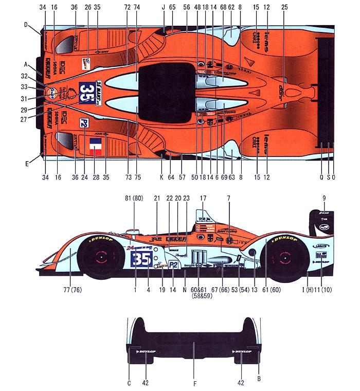ぺスカローロ Gulf #35 LMP2 ル・マン 2011年デカール(スタジオ27ツーリングカー/GTカー オリジナルデカールNo.DC996)商品画像_1