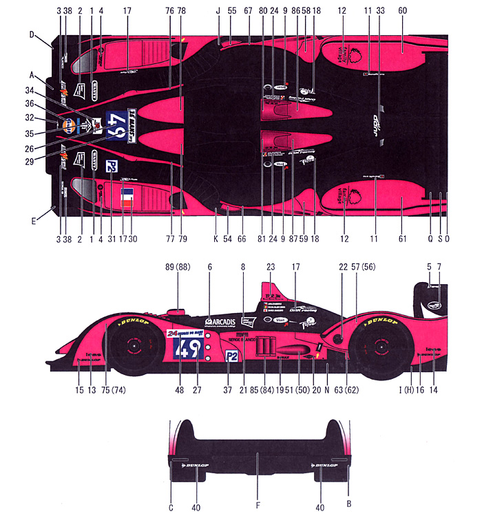 ぺスカローロ Gulf #49 LMP2 ル・マン 2011年デカール(スタジオ27ツーリングカー/GTカー オリジナルデカールNo.DC997)商品画像_1