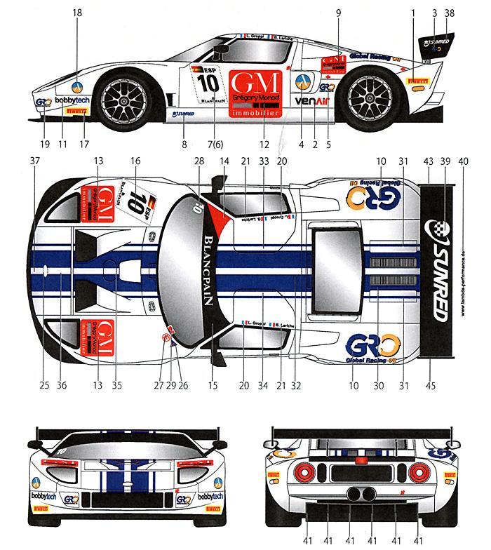 フォード GT1 #10 FIA GT 2012デカール(スタジオ27ツーリングカー/GTカー オリジナルデカールNo.DC998)商品画像_1