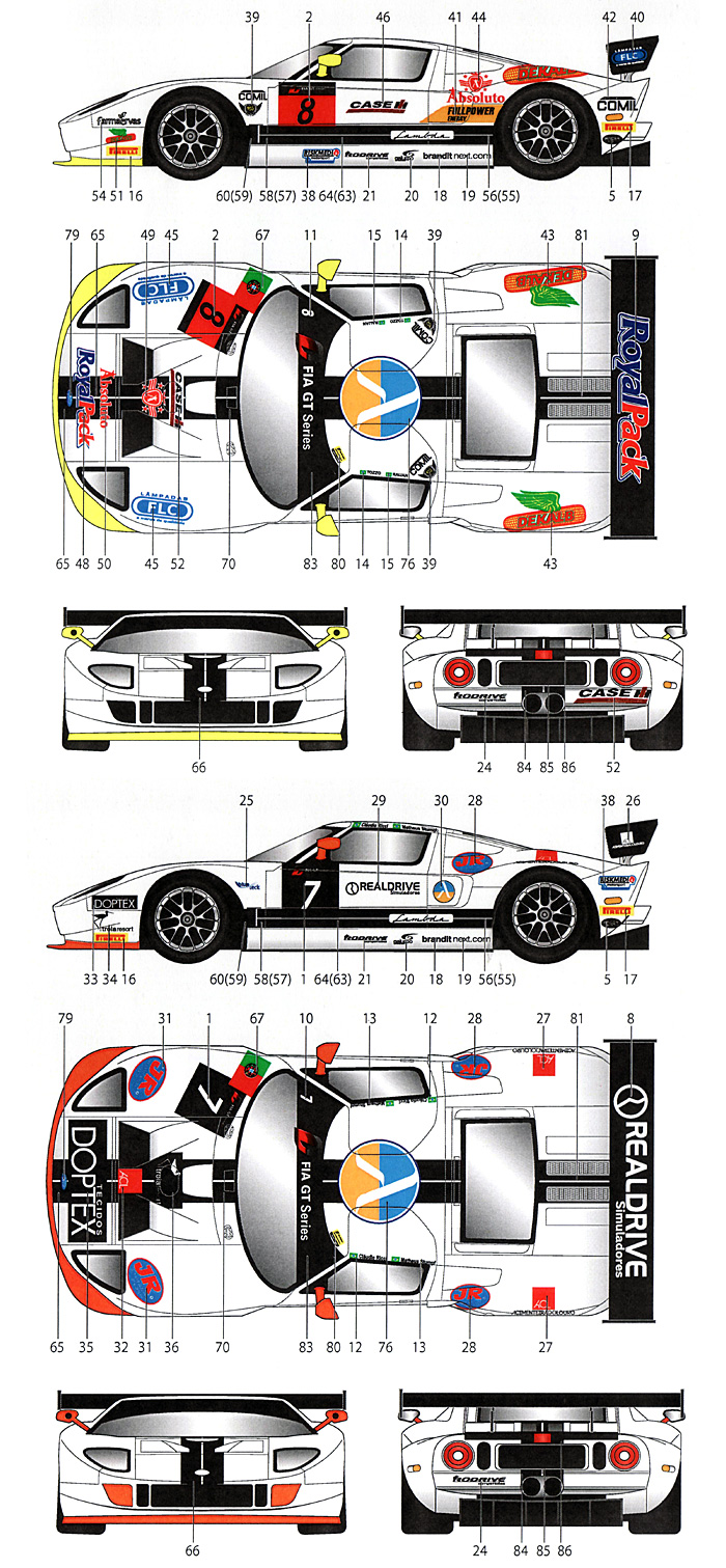 フォード GT1 #7/#8 FIA GT 2013デカール(スタジオ27ツーリングカー/GTカー オリジナルデカールNo.DC999)商品画像_1
