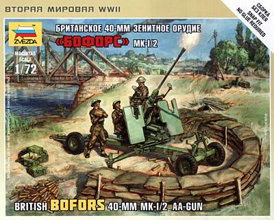 イギリス ボフォース Mk.1/2 40mm対空機関砲プラモデル(ズベズダART OF TACTICNo.6170)商品画像