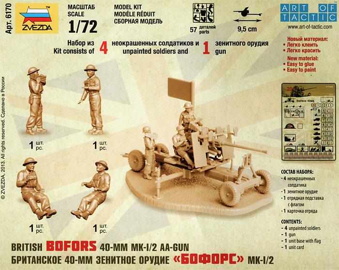 イギリス ボフォース Mk.1/2 40mm対空機関砲プラモデル(ズベズダART OF TACTICNo.6170)商品画像_1