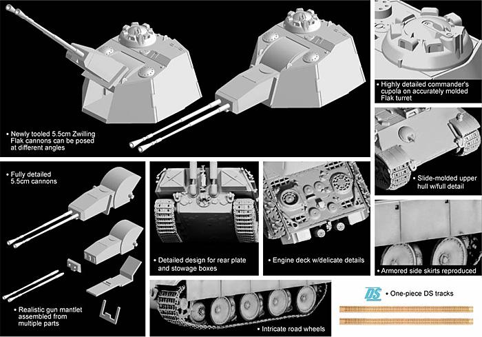 5.5cm 連装機関砲 Flak38搭載 パンター対空戦車プラモデル(ドラゴン1/72 ARMOR PRO (アーマープロ)No.7488)商品画像_2