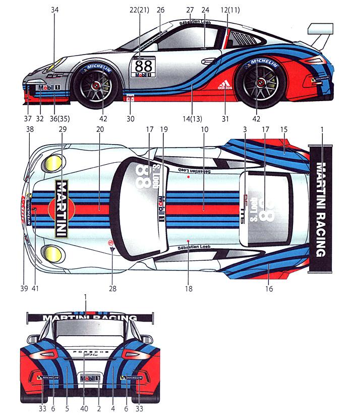 ポルシェ 911 GT1 マルティーニ 2013デカール(スタジオ27ツーリングカー/GTカー オリジナルデカールNo.DC991)商品画像_1