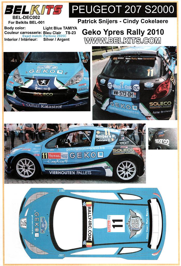 プジョー 207 S2000 #11 Geko Ypres Rally 2010デカール(BELKITSデカールNo.BEL-DEC002)商品画像_1