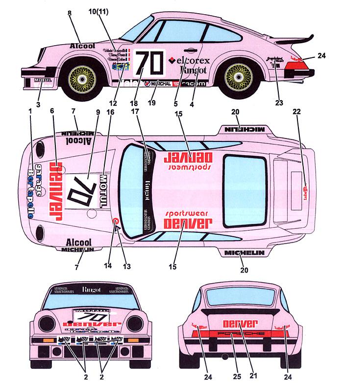 ポルシェ 934 デンバー #70 ルマン 1981デカール(スタジオ27ツーリングカー/GTカー オリジナルデカールNo.DC1002)商品画像_1