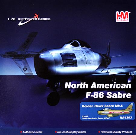 カナディア・セイバー Mk.5 ゴールデン・ホークス完成品(ホビーマスター1/72 エアパワー シリーズ (ジェット)No.HA4303)商品画像