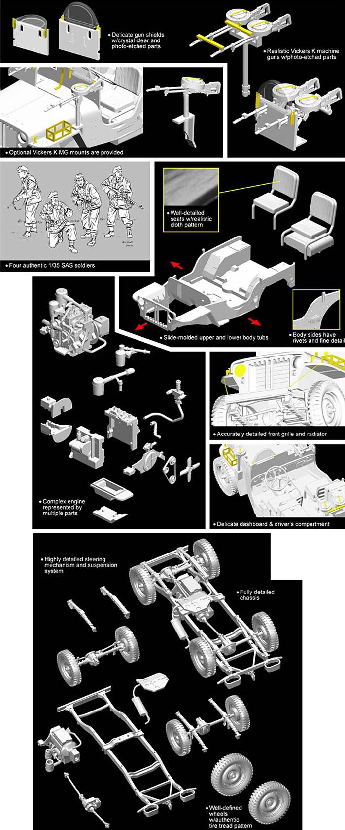 イギリス SAS 4×4 小型軍用車 ヨーロッパ戦線 + 第2SAS連隊 歩兵フィギュア4体セットプラモデル(サイバーホビー1/35 AFV シリーズ ('39~'45 シリーズ)No.6725)商品画像_2
