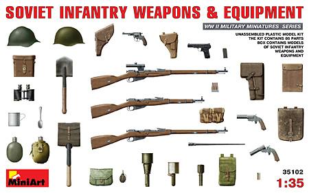 ソビエト歩兵 武器・装備品プラモデル(ミニアート1/35 WW2 ミリタリーミニチュアNo.35102)商品画像