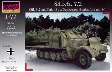 ドイツ Sd.Kfz.7/2 8トンハーフトラック Flak43 対空自走砲 装甲タイププラモデル(マコ1/72 AFVキットNo.7213)商品画像