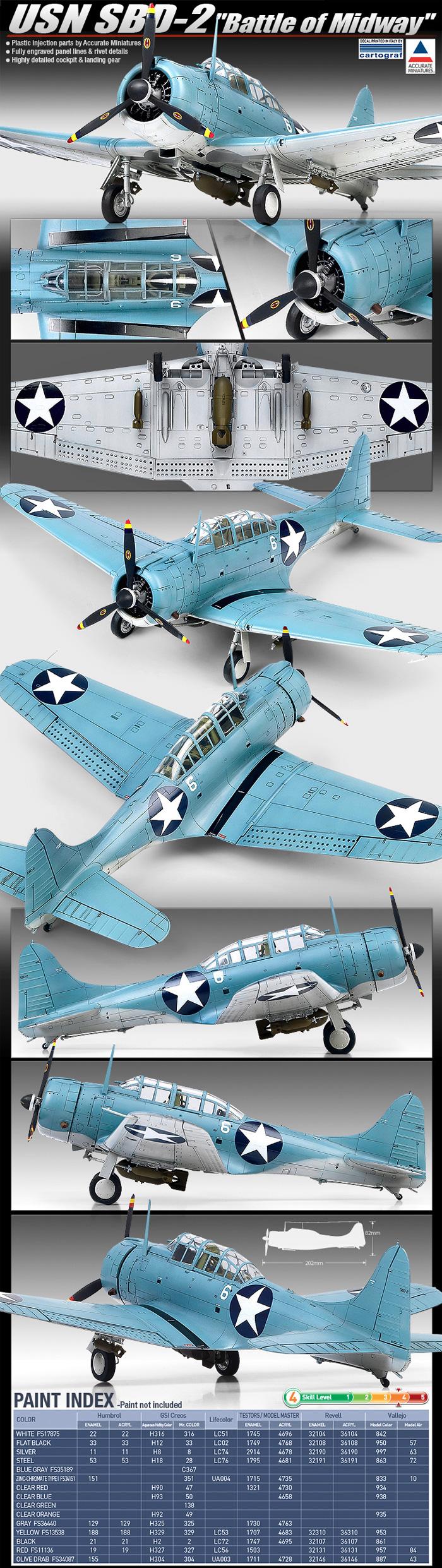 USN SBD-2 ドーントレス ミッドウェープラモデル(アカデミー1/48 AircraftsNo.12335)商品画像_2