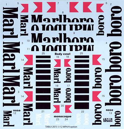 マクラーレン MP4/4 オプションデカールデカール(タブデザイン1/12 デカールNo.TABU-12073)商品画像