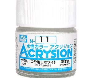 つや消しホワイト (つや消し) (N-11)塗料(GSIクレオス水性カラー アクリジョンNo.N-011)商品画像