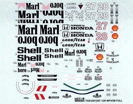 マクラーレン MP4/5B フルスポンサーデカールデカール(タブデザイン1/20 デカールNo.TABU-20125C)商品画像