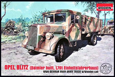 オペル ブリッツ トラック L701 戦時統制型キャブタイププラモデル(ローデン1/72 AFV MODEL KITNo.719)商品画像