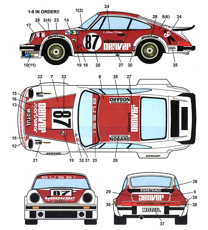 ポルシェ 934 DENVER #87 ル・マン 1979デカール(スタジオ27ツーリングカー/GTカー オリジナルデカールNo.DC1010)商品画像_1