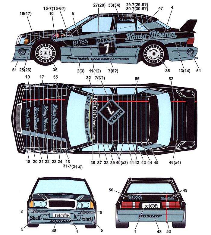 メルセデスベンツ 190E Konig Pilsner #6/#7 DTM 1990デカール(スタジオ27ツーリングカー/GTカー オリジナルデカールNo.DC1013)商品画像_1