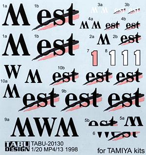 マクラーレン MP4/13 オプションデカールデカール(タブデザイン1/20 デカールNo.TABU-20130)商品画像