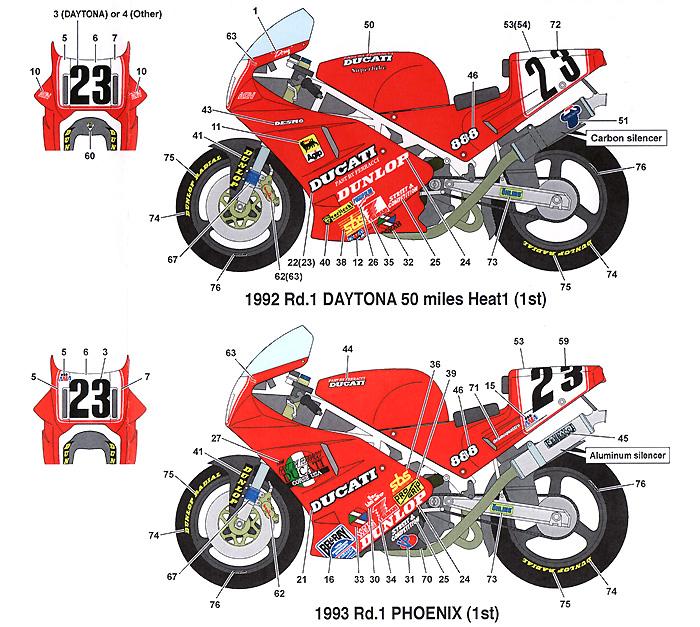 ドゥカティ 888 AMA #23 1992/93デカール(スタジオ27バイク オリジナルデカールNo.DC1008)商品画像_1
