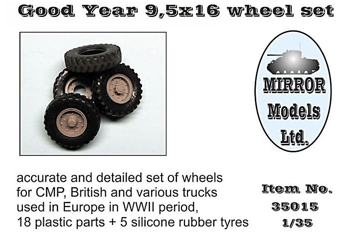 タイヤセット グッドイヤー 9.5×16 (4個+スペア)プラモデル(ミラーモデルズ1/35 AFVモデルNo.35015)商品画像_1