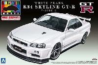 アオシマ1/24 プリペイントモデル シリーズR34 スカイライン GT-R V-spec.2 (ホワイト パール)