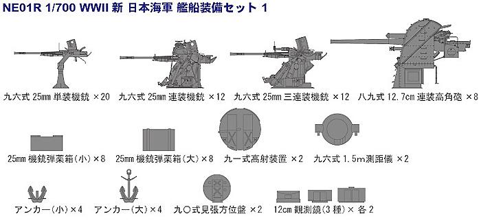 新WW2 日本海軍艦船装備セット 1Rプラモデル(ピットロードスカイウェーブ NE シリーズNo.NE-001R)商品画像_1