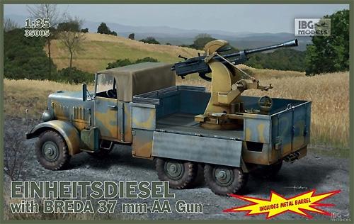 ドイツ アインハイツディーゼル ブレダ 37mm 対空機関砲搭載プラモデル(IBG1/35 AFVモデルNo.35005)商品画像