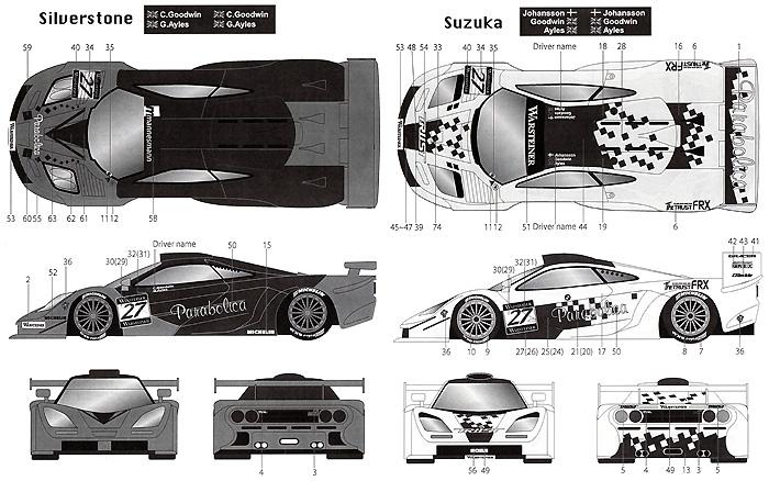 マクラーレン F1-GTR Parabolica #27 FIA-GT 1997デカール(タブデザイン1/24 デカールNo.TABU-24041)商品画像_2