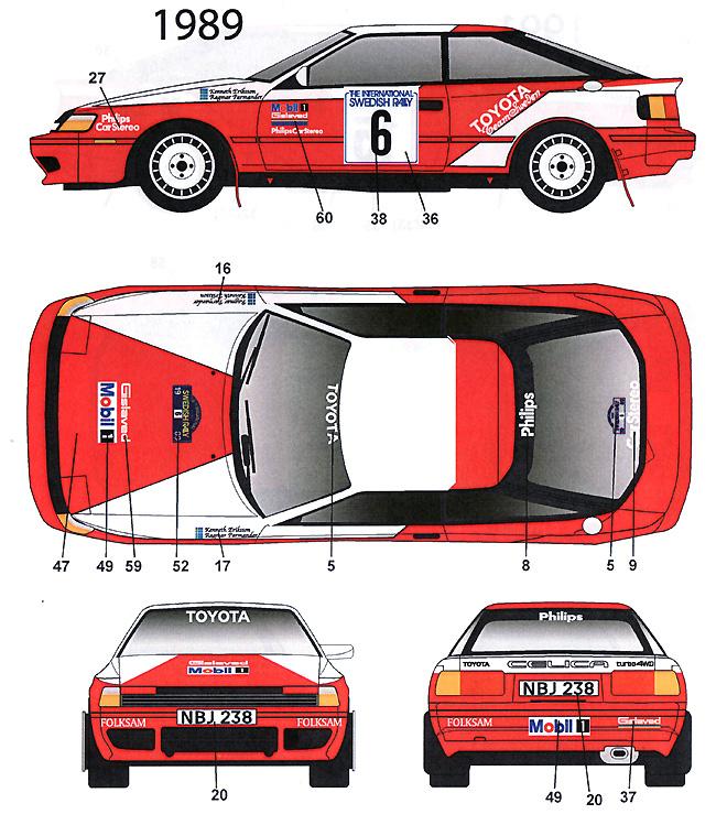 トヨタ セリカ ST165 スウェーデン #6 1989/ #15 1991/ #4 1992デカール(スタジオ27ラリーカー オリジナルデカールNo.DC1019)商品画像_3