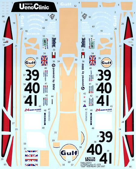 マクラーレン F1-GTR Gulf #39/40/41 ルマン 1997デカール(タブデザイン1/24 デカールNo.TABU-24043)商品画像