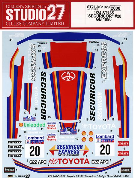 トヨタ セリカ ST165 SECURICOR #20 GB 1990デカール(スタジオ27ラリーカー オリジナルデカールNo.DC1023)商品画像