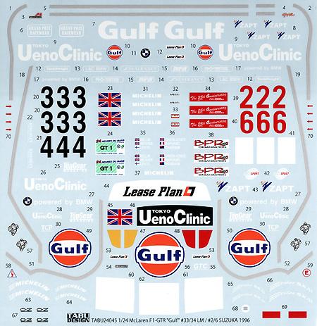 マクラーレン F1-GTR Gulf #33/34 ル・マン / #2/6 鈴鹿 1996デカール(タブデザイン1/24 デカールNo.TABU-24045)商品画像