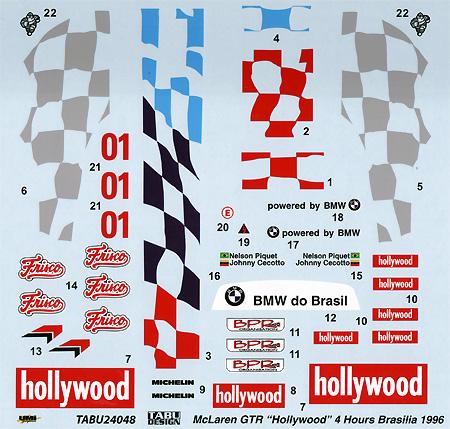 マクラーレン F1-GTR Hollywood #01 4Hours Brasilia 1996デカール(タブデザイン1/24 デカールNo.TABU-24048)商品画像